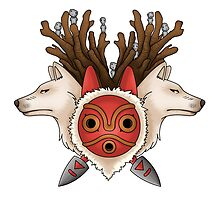 A mask, two wolves and spirits by CoyoDesign