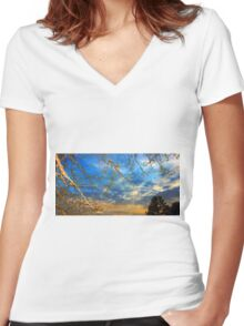 Dusk through the trees Women's Fitted V-Neck T-Shirt
