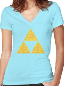 Celtic Triforce Women's Fitted V-Neck T-Shirt