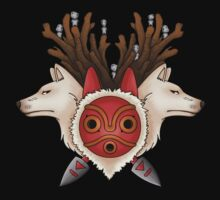 A mask, two wolves and spirits -black- T-Shirt