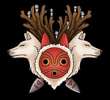 A mask, two wolves and spirits -black- by CoyoDesign