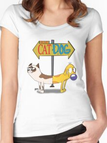 Grumpy Cat Dog Women's Fitted Scoop T-Shirt
