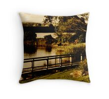old fashioned postcard- manning river Throw Pillow