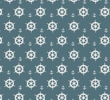 Nautical Theme - Sea Wheels and Anchors 2 by wrapsio