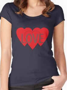 Love Hearts Women's Fitted Scoop T-Shirt