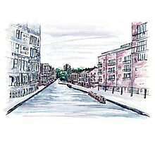 Canal in the city of Birmingham, England, Watercolour Painting Photographic Print