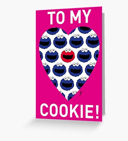 COOKIE MONSTER VALENTINE'S CARD 3 Greeting Card
