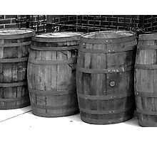 WOODEN BARRELS IN A ROW Photographic Print