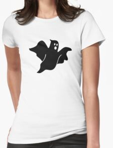 Black scary ghost Womens Fitted T-Shirt