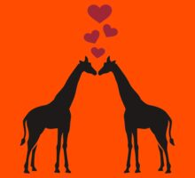 Giraffes red hearts love Kids Clothes
