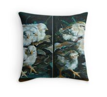 Moa Chicks together Throw Pillow