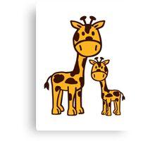 Comic Giraffe family Canvas Print