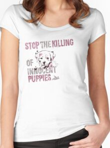 Stop the Killing of Innocent Puppies Women's Fitted Scoop T-Shirt