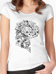 Singing Sugar Skull  Women's Fitted Scoop T-Shirt