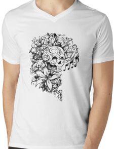 Singing Sugar Skull  Mens V-Neck T-Shirt