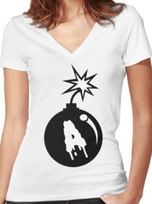 A Bomb Funny Geek Nerd Women's Fitted V-Neck T-Shirt