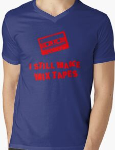 I Still Make Mix Tapes (Red Print) Mens V-Neck T-Shirt