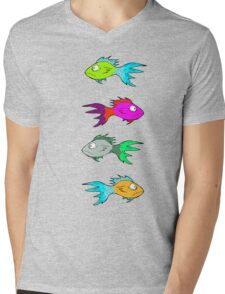 Neon Fish Mens V-Neck T-Shirt