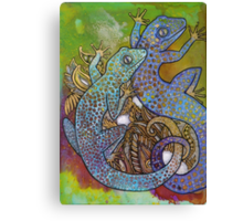 Blue Geckos Canvas Print