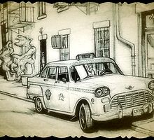 Old Checker cab drawing by RobCrandall