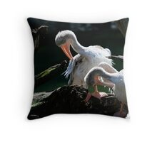 Pruning Pelicans Throw Pillow
