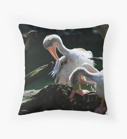 Pruning Pelicans Throw Pillow