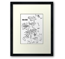 4A-GE Engine Diagram Framed Print