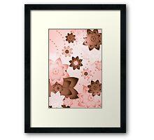 Pink & Brown Flowers Framed Print