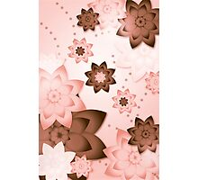 Pink & Brown Flowers Photographic Print