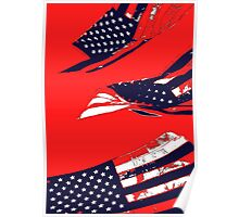 Dynamic Pop Painting of a waving American Flag Poster