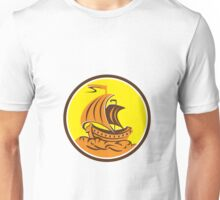 Sailing Galleon Ship Circle Retro Unisex T-Shirt