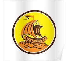 Sailing Galleon Ship Circle Retro Poster