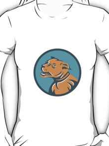 Angry Mastiff Dog Mongrel Head Circle T-Shirt