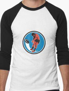 Rugby Player Kicking Ball Circle Retro Men's Baseball ¾ T-Shirt