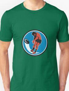Rugby Player Kicking Ball Circle Retro Unisex T-Shirt