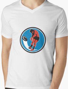 Rugby Player Kicking Ball Circle Retro Mens V-Neck T-Shirt