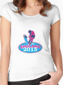 Rugby Player Kicking Ball England 2015 Retro Women's Fitted Scoop T-Shirt