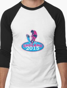 Rugby Player Kicking Ball England 2015 Retro Men's Baseball ¾ T-Shirt