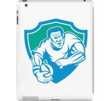 Rugby Player Running Ball Shield Linocut iPad Case/Skin