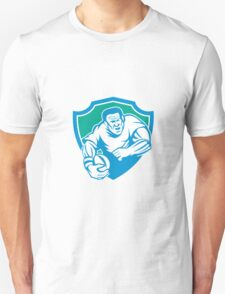 Rugby Player Running Ball Shield Linocut Unisex T-Shirt