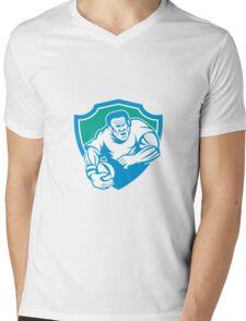 Rugby Player Running Ball Shield Linocut Mens V-Neck T-Shirt