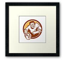 Rugby Player Running Ball Circle Linocut Framed Print