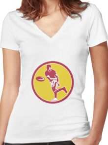 Rugby Player Passing Ball Circle Retro Women's Fitted V-Neck T-Shirt