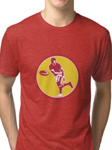 Rugby Player Passing Ball Circle Retro Tri-blend T-Shirt