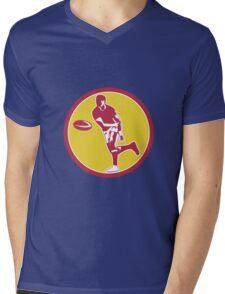 Rugby Player Passing Ball Circle Retro Mens V-Neck T-Shirt