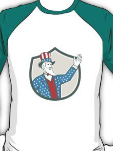 Uncle Sam American Hand Up Shield Retro T-Shirt