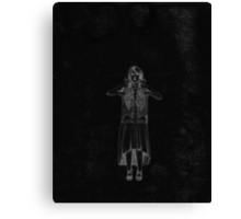 Black Exposure , Girl with Xray in dress and heels with ribcage Canvas Print