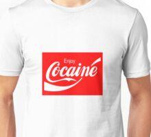 Enjoy Cocaine (Red Print on White Tshirt) Unisex T-Shirt