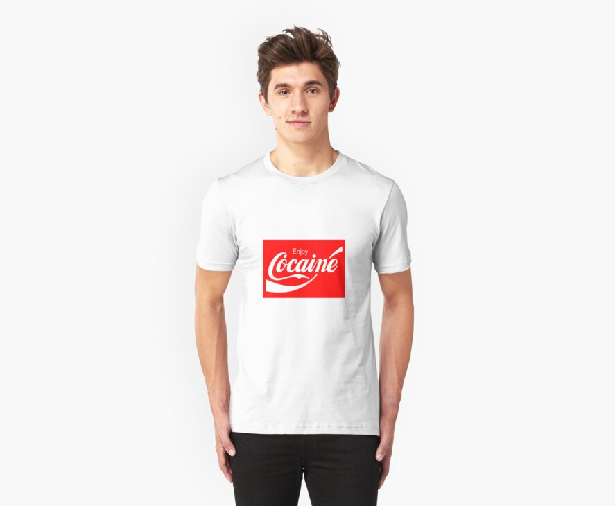 Enjoy Cocaine (Red Print on White Tshirt) by rudeboyskunk