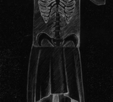 Black Exposure , Girl with Xray in dress and heels with ribcage Sticker